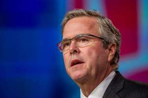 Jeb Bush, former governor of Florida, speaks during a keynote session at the National Automobile Dealer Association (NADA) conference in San Francisco, California, U.S., on Friday, Jan. 23, 2015. Bush is one of a large group of seemingly viable candidates for the presidential election, all of whom have conventional qualifications and fit within the Republican mainstream on public policy. Photographer: David Paul Morris/Bloomberg via Getty Images